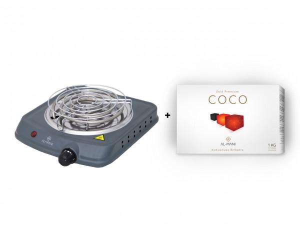 Al-Mani Heizplatte 1000W + 1Kg Al-Mani Coco 25 mm